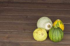 Autumn harvest of pumpkins. Preparing for Halloween. Growing vegetables in a home garden. Place for your text. Stock Photo