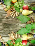 Autumn harvest on rustic wooden table - healthy organic food Royalty Free Stock Image