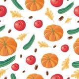 Autumn Harvest Seamless Pattern Illustration Fotografia de Stock Royalty Free