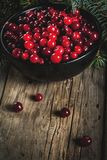 Fresh raw cranberry. Autumn harvest, seasonal berries. Fresh raw cranberries in a black bowl, with Christmas tree branches, on an old wooden village table, copy Stock Photography