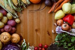 Autumn harvest. Thanksgiving. Round frame stock images