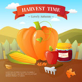 Autumn Harvest Time Flat Poster Stock Images