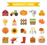 Autumn harvest time icons set flat cartoon style.. Autumn harvest time icons set flat cartoon style. Harvesting collection of elements design. Farm Stock Images