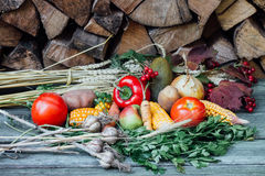 Autumn harvest vegetables. With firewoods on the background Royalty Free Stock Photos