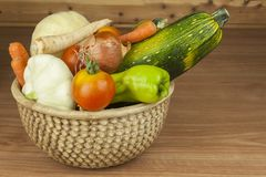 Autumn harvest vegetables. Growing organic vegetables in the country. Diet food for weight loss. Stock Photo