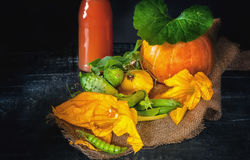 Autumn harvest vegetables - pumpkin, cucumber, zucchini and squash in a rustic style on wooden background and the juice Royalty Free Stock Photo
