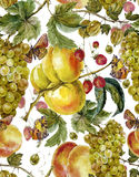 Autumn harvest watercolor seamless pattern Royalty Free Stock Photography