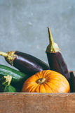Autumn harvest in a wooden box Royalty Free Stock Image