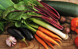 Autumn harvest - zucchini, eggplant, onions, leeks, beets, garli Stock Photos