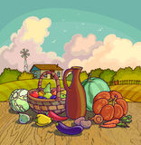 Autumn harvesting. Vector illustration of group of many fruit and vegetable Stock Images