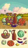 Autumn harvesting. Vector illustration of group of many fruit and vegetable Stock Photo