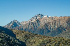 He mountains of Krasnaya Polyana in autumn royalty free stock photography