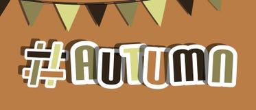 Autumn Hashtag Background - illustration de vecteur - d'isolement sur Brown illustration de vecteur