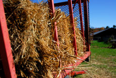 Autumn hay ride. A wagon trailor filled with hay bails, ready to take people on a hay ride Stock Images