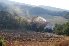 Autumn at hazy countryside Stock Images