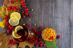 Autumn healthy beverages concept. Cup of tea with autumn berries sea buckthorn,  viburnum, rose hip, rowan and fall leaves. Drink Stock Photos