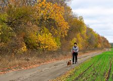 Autumn healthy walk Royalty Free Stock Photo