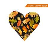 Autumn Heart Graphic Design floral - para la camiseta, moda, impresión Foto de archivo libre de regalías