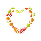 Autumn heart love with colorful leaves Royalty Free Stock Images