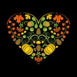 Autumn heart. Vector illustration. Autumn heart from different elements. Vector illustration on black background royalty free illustration
