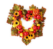 Autumn heart wreath. Isolated on white background stock photography