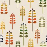 Autumn Herbalism Seamless Pattern, Daling Forest Floor Background Repeat Pattern voor textielontwerp, stoffendruk, manier of back royalty-vrije illustratie