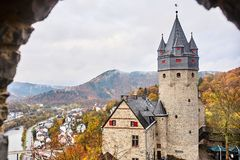 Castle Altena, Germany. Autumn high view of medieval Altena castle royalty free stock image