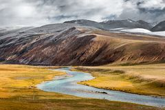 Autumn in highland , Tibet, China. [Oct., 2018] I driving from Beijing to Lhasa via G109 and back to Beijing via G317, totally 9063km, the highland views, snow royalty free stock photos