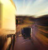 Autumn highway cars blur  travel Royalty Free Stock Photo