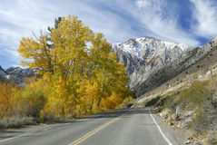 Autumn highway in Sierra Nevada mountains Stock Photos