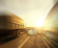 Autumn highway travel cars blur Royalty Free Stock Images