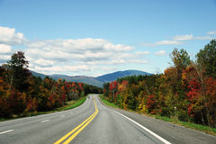 Autumn highway. Winding high way in Green Mountain area in autumn Stock Photos