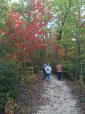 Autumn Hike. Hikers trek down a well worn path in Tennessee in late Fall Stock Image