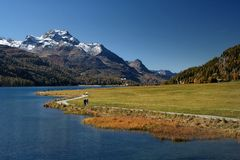Autumn hiking in Alps Royalty Free Stock Image