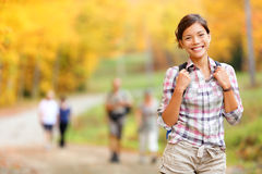 Autumn hiking girl Stock Images