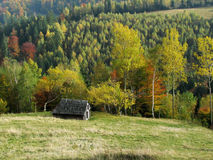 Autumn hills with farm. This picture shows the autumn hills with an old wood farm Royalty Free Stock Photo