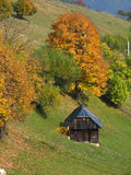 Autumn hills - rural scene. This picture shows the autumn hills with an old wood house at the countryside Royalty Free Stock Photos