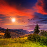 Autumn hillside with red and yellow forest at sunset Royalty Free Stock Image