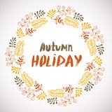 Autumn holiday background. Circle hand drawn frame. Colorful banner with leaves. vector Royalty Free Stock Photography