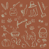 Autumn holiday doodle forest food ingredient, animal, gardening. Tool and nature object icon collection set in brown background, create by vector Royalty Free Stock Photo