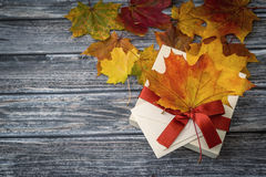 Autumn holiday present box, top view Royalty Free Stock Photo