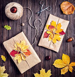 Autumn holiday presents Stock Images