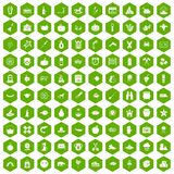 100 autumn holidays icons hexagon green. 100 autumn holidays icons set in green hexagon isolated vector illustration Royalty Free Stock Photos