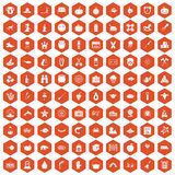 100 autumn holidays icons hexagon orange. 100 autumn holidays icons set in orange hexagon isolated vector illustration Royalty Free Stock Image