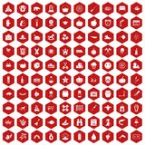 100 autumn holidays icons hexagon red. 100 autumn holidays icons set in red hexagon isolated vector illustration Stock Images