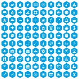 100 autumn holidays icons set blue. 100 autumn holidays icons set in blue hexagon isolated vector illustration vector illustration