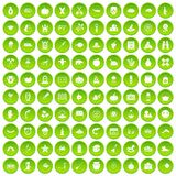 100 autumn holidays icons set green. 100 autumn holidays icons set in green circle isolated on white vectr illustration Royalty Free Stock Photo