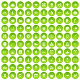 100 autumn holidays icons set green circle Royalty Free Stock Photography