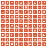 100 autumn holidays icons set grunge orange. 100 autumn holidays icons set in grunge style orange color isolated on white background vector illustration stock illustration