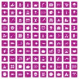 100 autumn holidays icons set grunge pink. 100 autumn holidays icons set in grunge style pink color isolated on white background vector illustration Royalty Free Stock Images